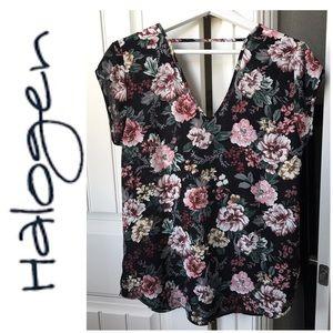 Halogen Short Sleeve Floral Blouse Size M